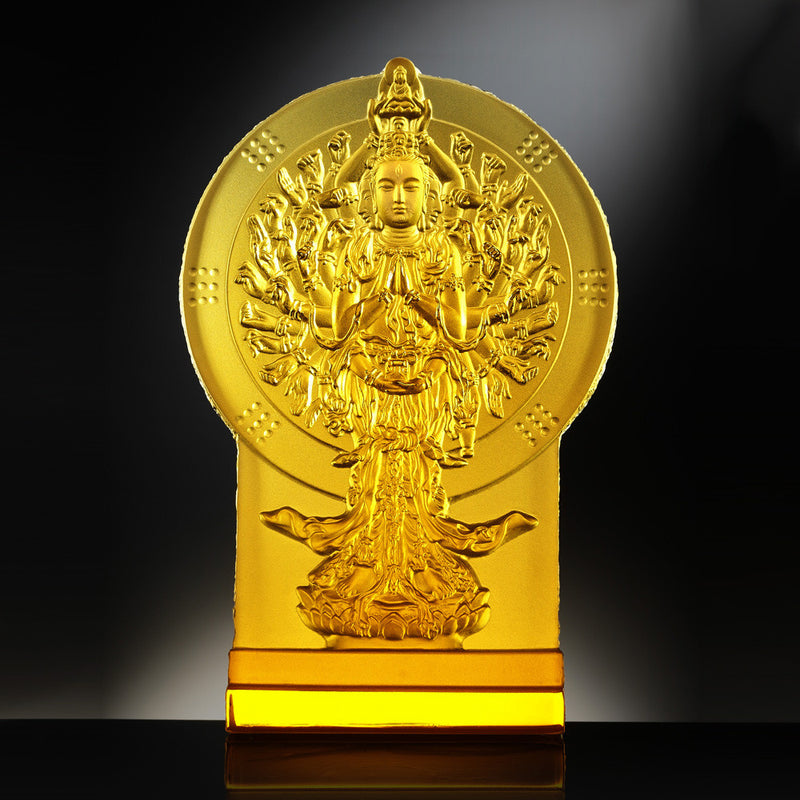 Crystal Buddha, Thousand Arms Guanyin, The Light of Guanyin - LIULI Crystal Art