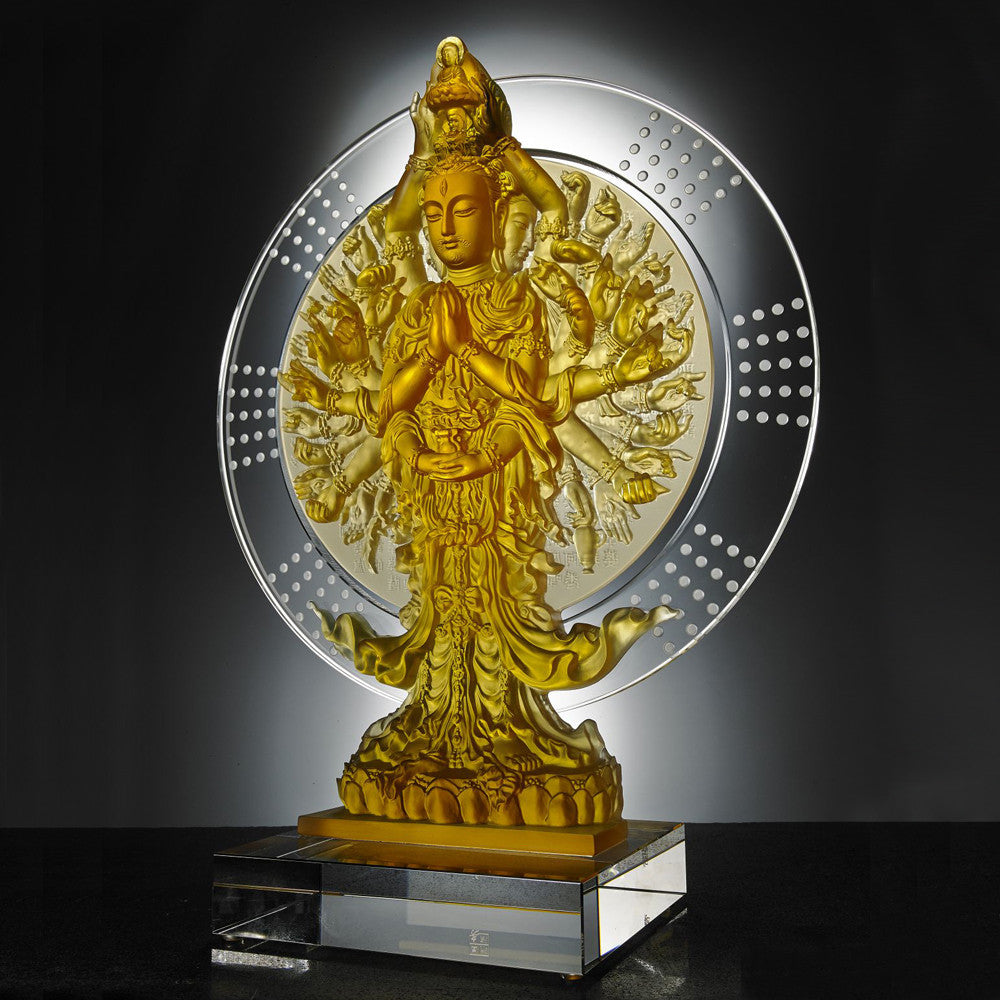 Crystal Buddha, Thousand Arms Guanyin, Only With Compassion-Thousand Goddess of Mercy - LIULI Crystal Art