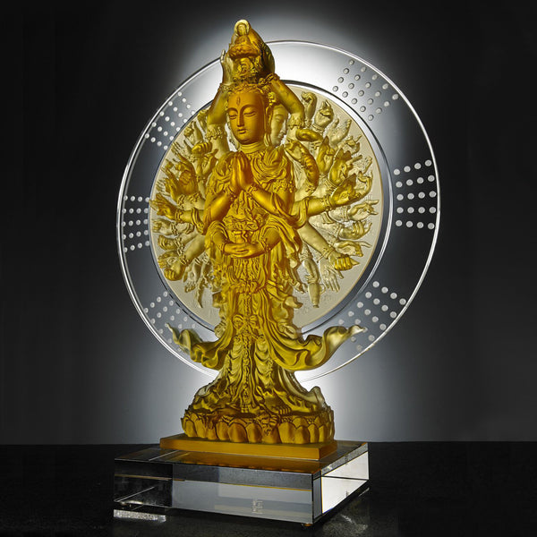 Only With Compassion - Thousand Arms Guanyin (Thousand Goddess of Mercy) - LIULI Crystal Art | Collectible Glass Art