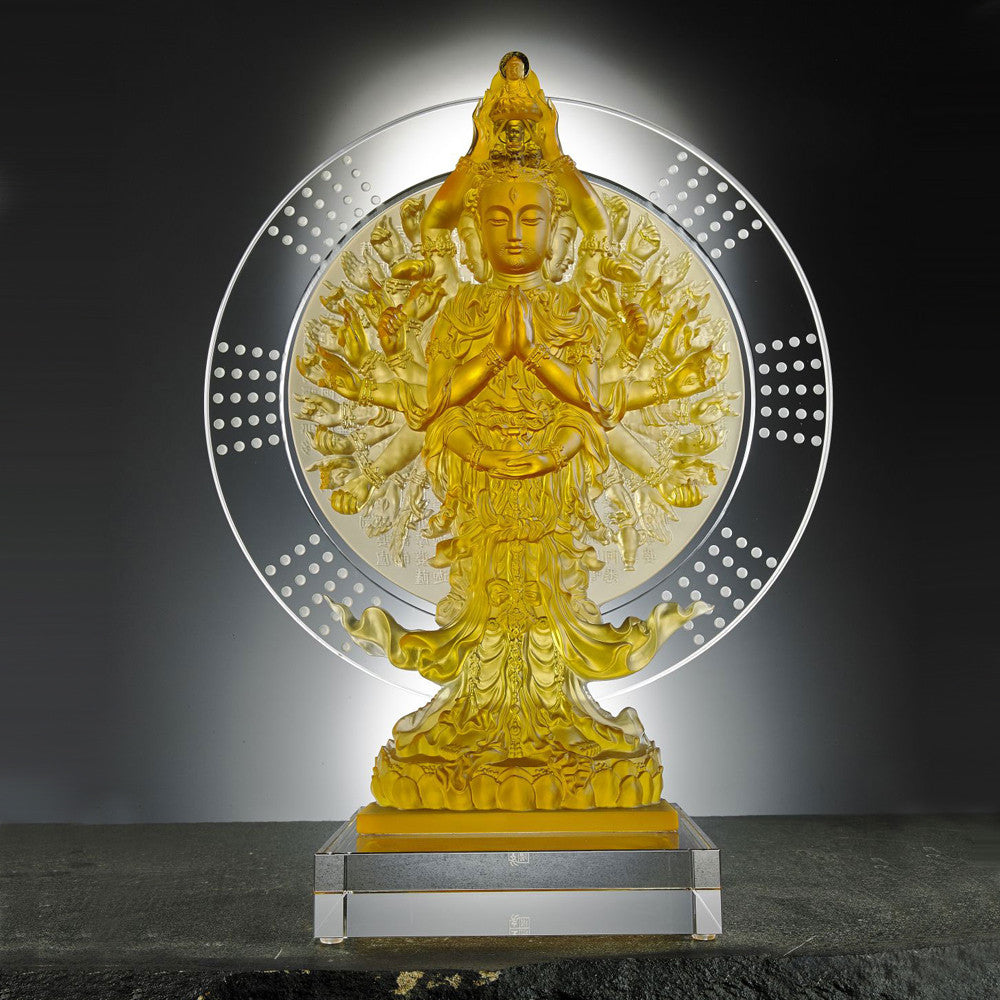 Only With Compassion - Thousand Arms Guanyin (Thousand Goddess of Mercy) - LIULI Crystal Art - Light Amber.