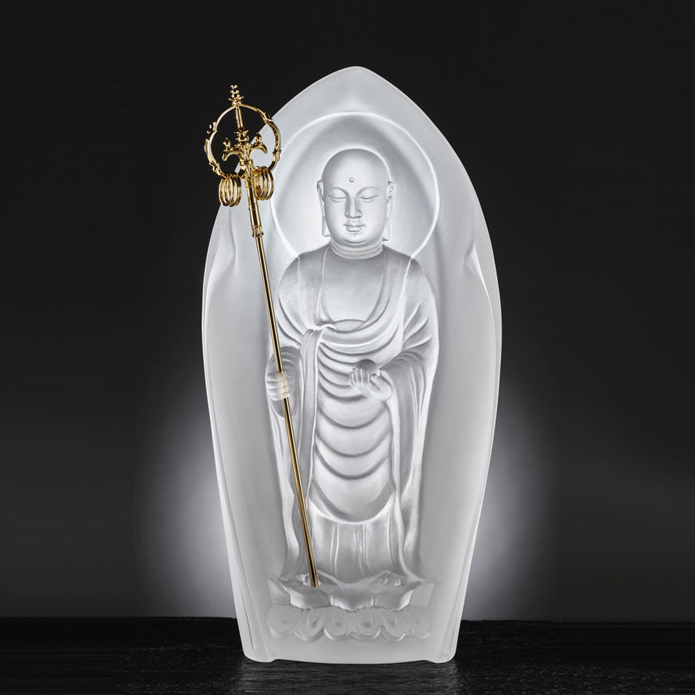 Crystal Buddha, Ksitigarbha Bodhisattva, Fulfillment of Lotus Radiance - LIULI Crystal Art - Frosted Clear.