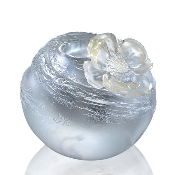 A Fresh and Wonderful Blessing (Ubiquitous Joy) - Windflower Peony Flower Figurine - LIULI Crystal Art