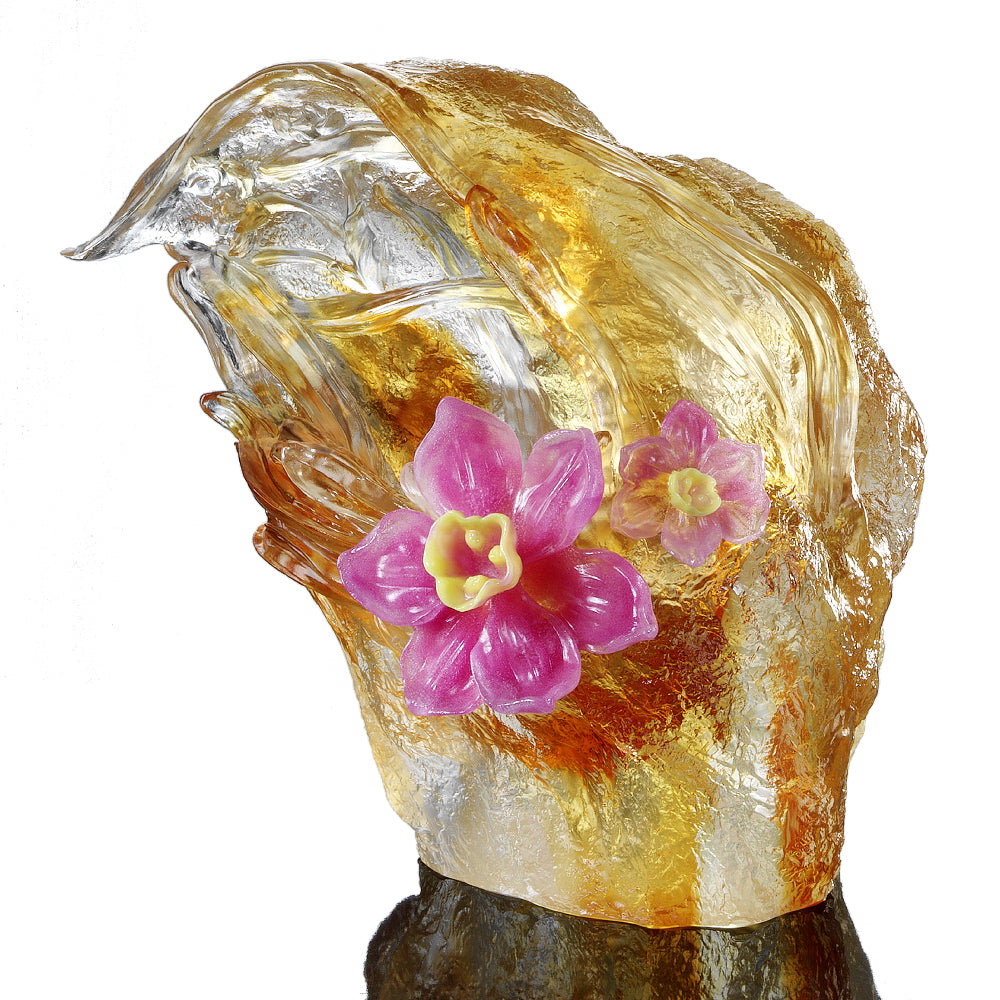 Crystal Floral Vase, Narcissus, Peach Blossom Spring-Narcissus Flower - LIULI Crystal Art - [variant_title].