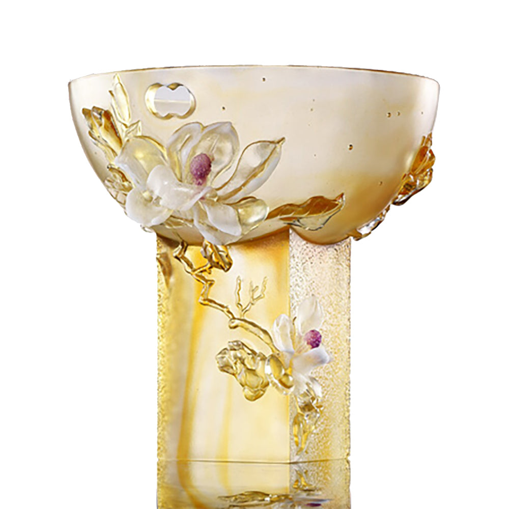 -- DELETE -- Crystal Floral Vase, Magnolia, Embodiment of Beauty-Pure Magnolia - LIULI Crystal Art