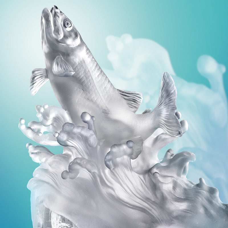 Rising From the Glacier - Fish Figurine (Salute to Life) - LIULI Crystal Art - [variant_title].