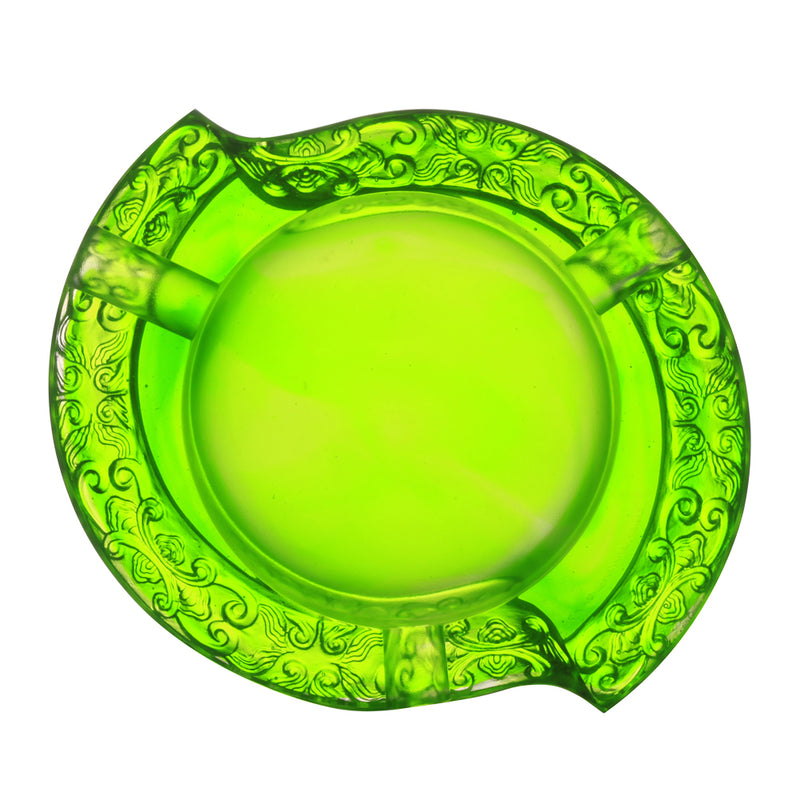 Smoke Plume Dance (Ashtray for Cigar) - LIULI Crystal Art - Green Clear.