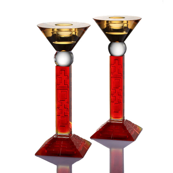 Candle Holder, Candelabrum - Partner in Happiness (Set of 2) - LIULI Crystal Art