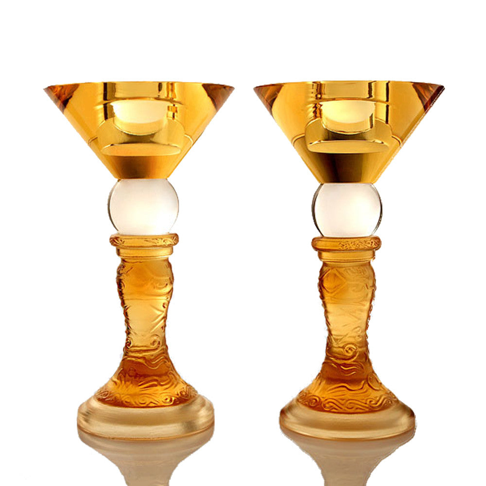 50th Anniversary Candle Holder - Dance of the Phoenix (Set of 2) - LIULI Crystal Art - Amber.