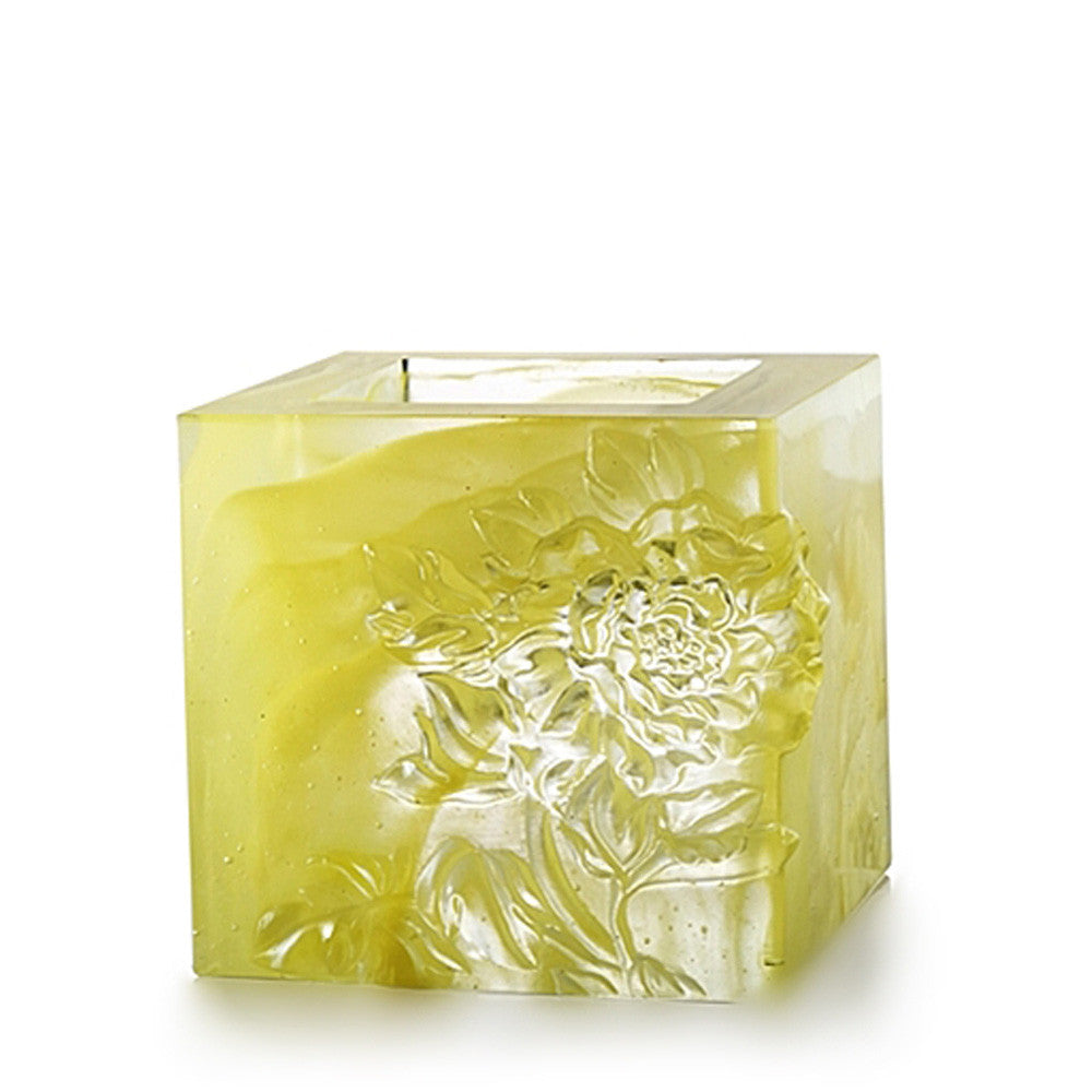 Heavenly Splendor, Candle Holder (Small Size) - LIULI Crystal Art - Powder Yellow, Small.