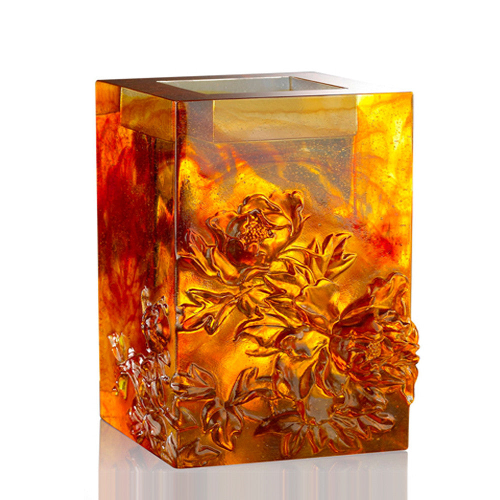 Heavenly Splendor, Candle Holder (Medium Size) - LIULI Crystal Art - Dark Amber / Light Amber.
