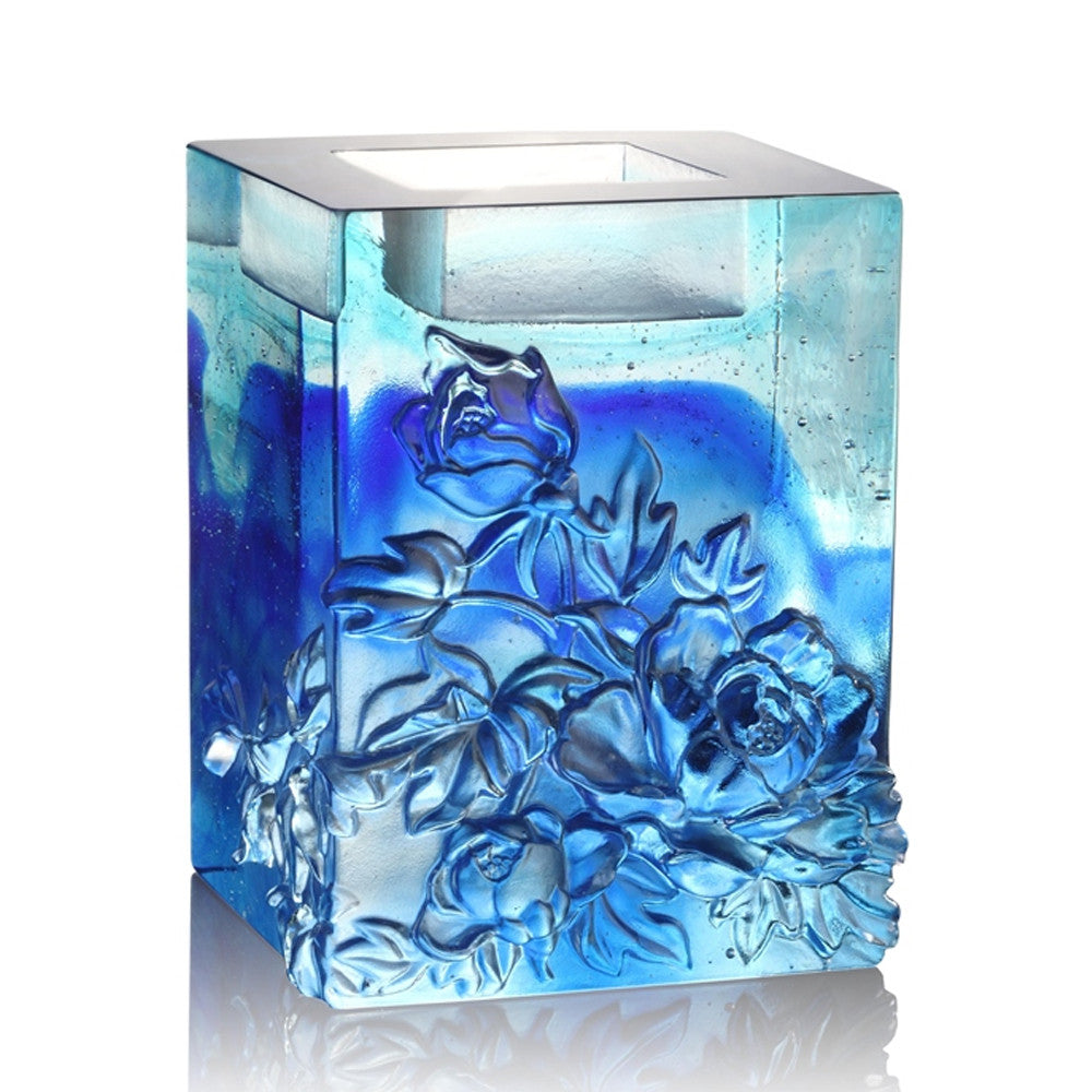 Heavenly Splendor, Candle Holder (Medium Size) - LIULI Crystal Art - Sky Blue.