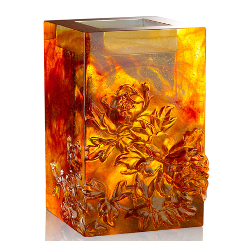 Heavenly Splendor, Candle Holder (Large Size) - LIULI Crystal Art - Amber.