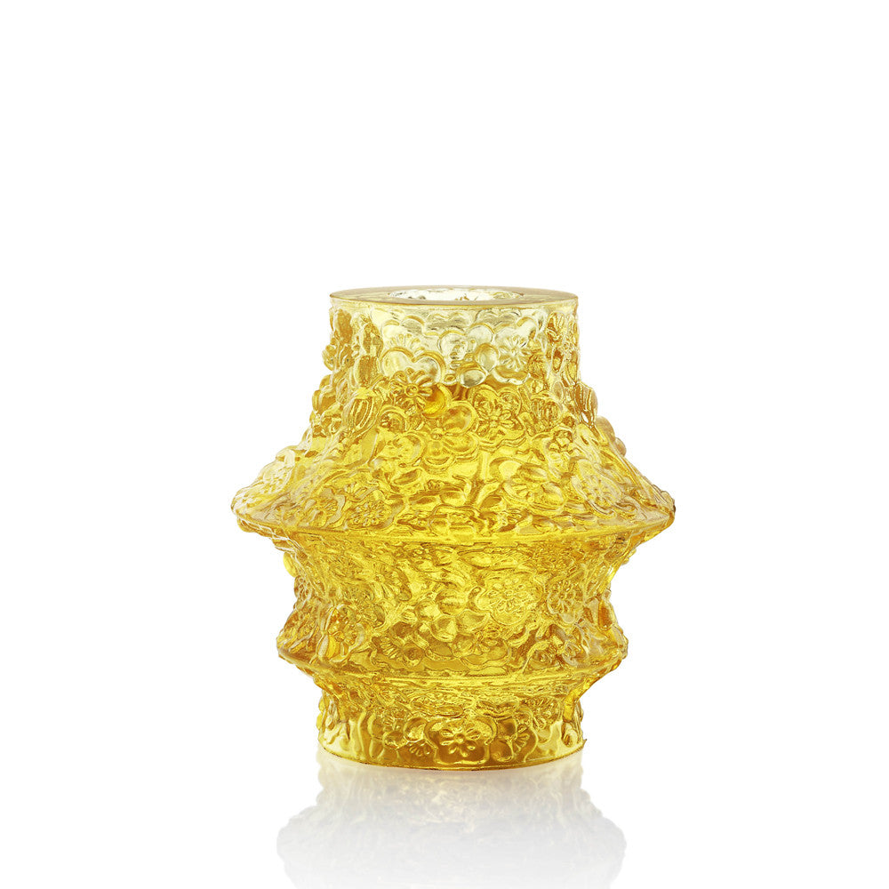 A Blossom Filled Sky (Light filled with Hope) - Crystal Candle Holder - LIULI Crystal Art - Yellow Powder.