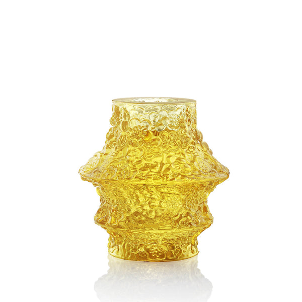 "Crystal Candle Holder (Light filled with Hope) - ""A Blossom Filled Sky"" Light Amber - LIULI Crystal Art"