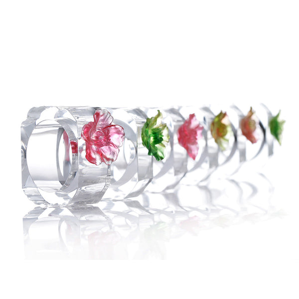 Napkin Holder (Camellia Flower) – Tea Flower, Dazzling Ring of Flowers and Birds (Set of 6) - LIULI Crystal Art | Collectible Glass Art