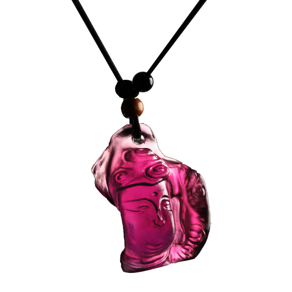 Crystal Pendant, Necklace, Buddha, Free Mind with Happiness - LIULI Crystal Art