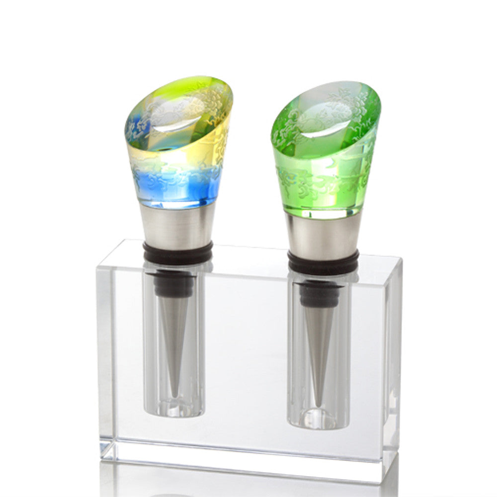 Wine Stopper - Richly Intoxicating Beauty (Set of 2) - LIULI Crystal Art - Mixed Color.