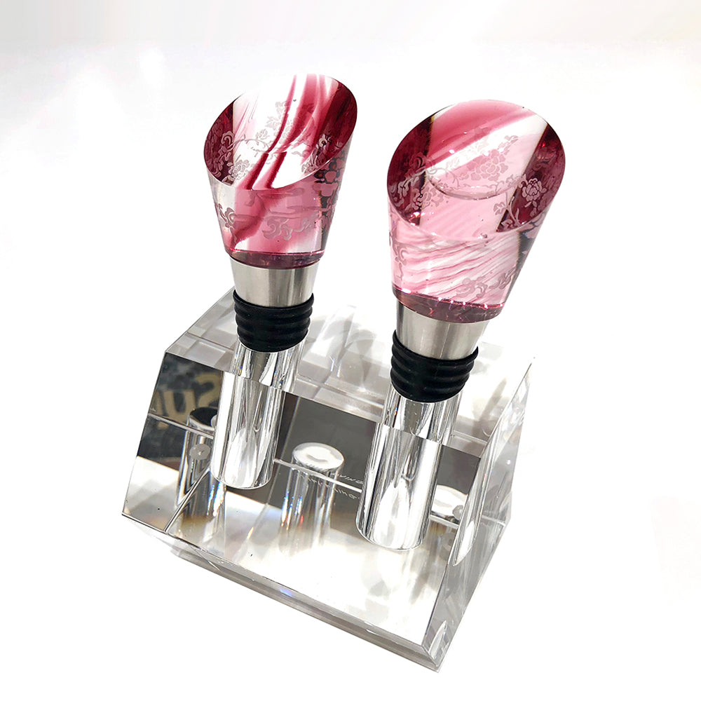 Crystal Wine Stopper,  Richly Intoxicating Beauty (Set of 2) - LIULI Crystal Art