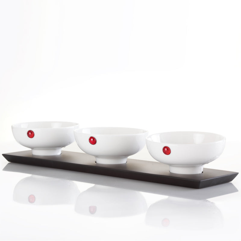 Bone China Gift Set, Bowl, Delectable Bites (Set of 3) - LIULI Crystal Art