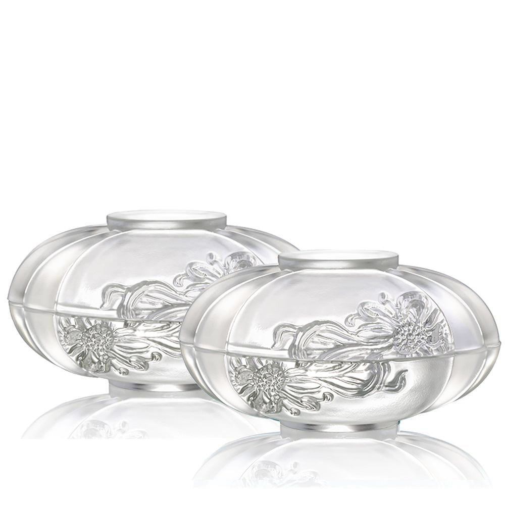 -- DELETE -- Bliss of Moon and Chrysanthemum (Set of 2) - Snack Tray (Large) - LIULI Crystal Art
