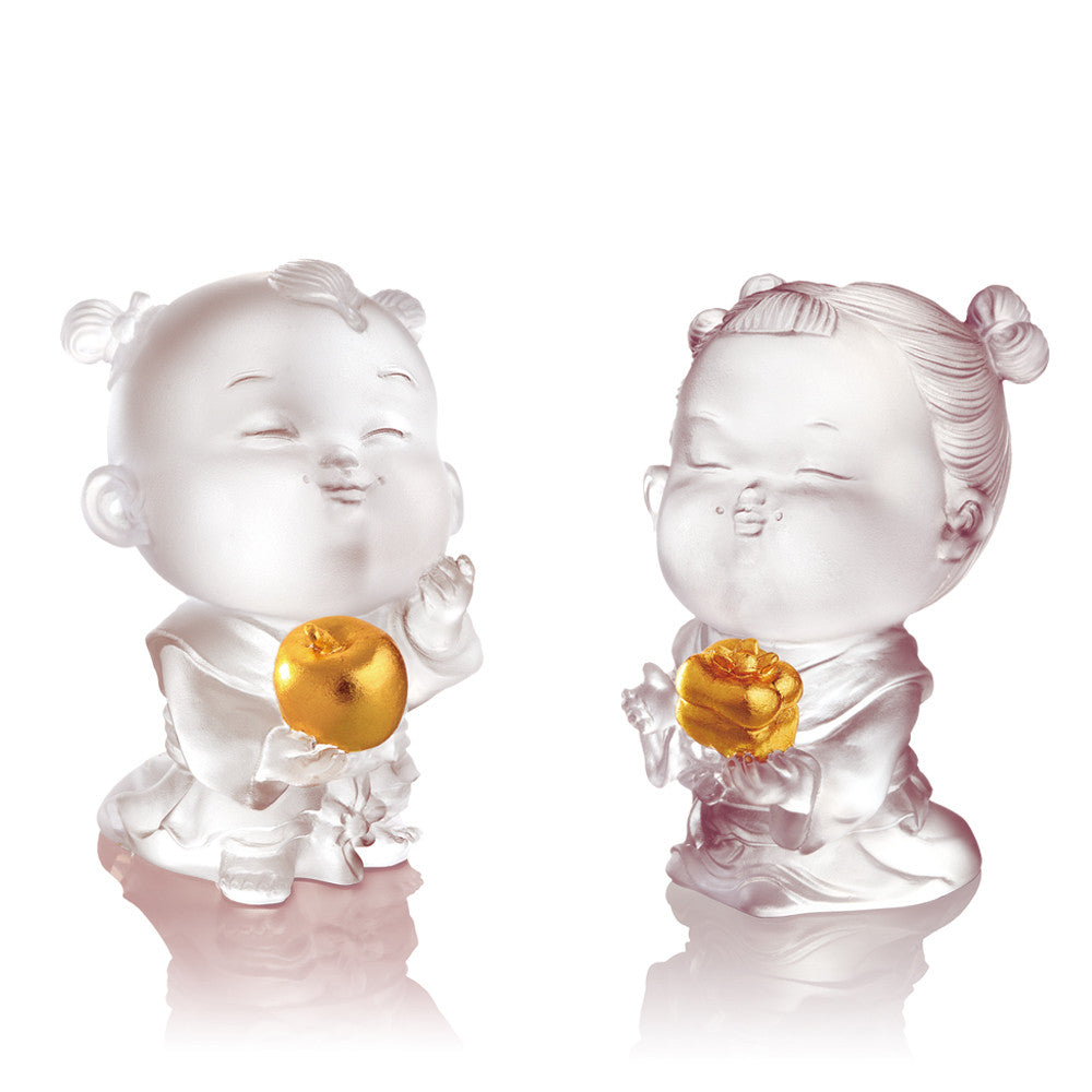 Crystal Doll, Doll of Peace & Good Fortune-Baby Peace & Baby Ruyi (Set of 2) - LIULI Crystal Art