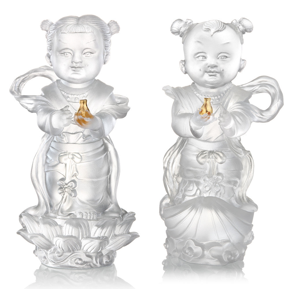 Crystal Doll, Doll of Fortune & Pearl-Baby Fortune & Baby Pearl (Set of 2) - LIULI Crystal Art - Powder White.