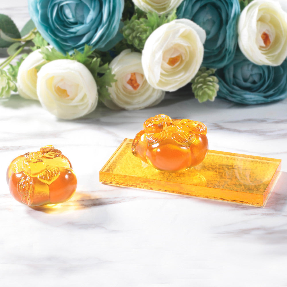 Crystal Paperweight, Feng Shui, Persimmon, Good Things Come in Pairs - LIULI Crystal Art - [variant_title].