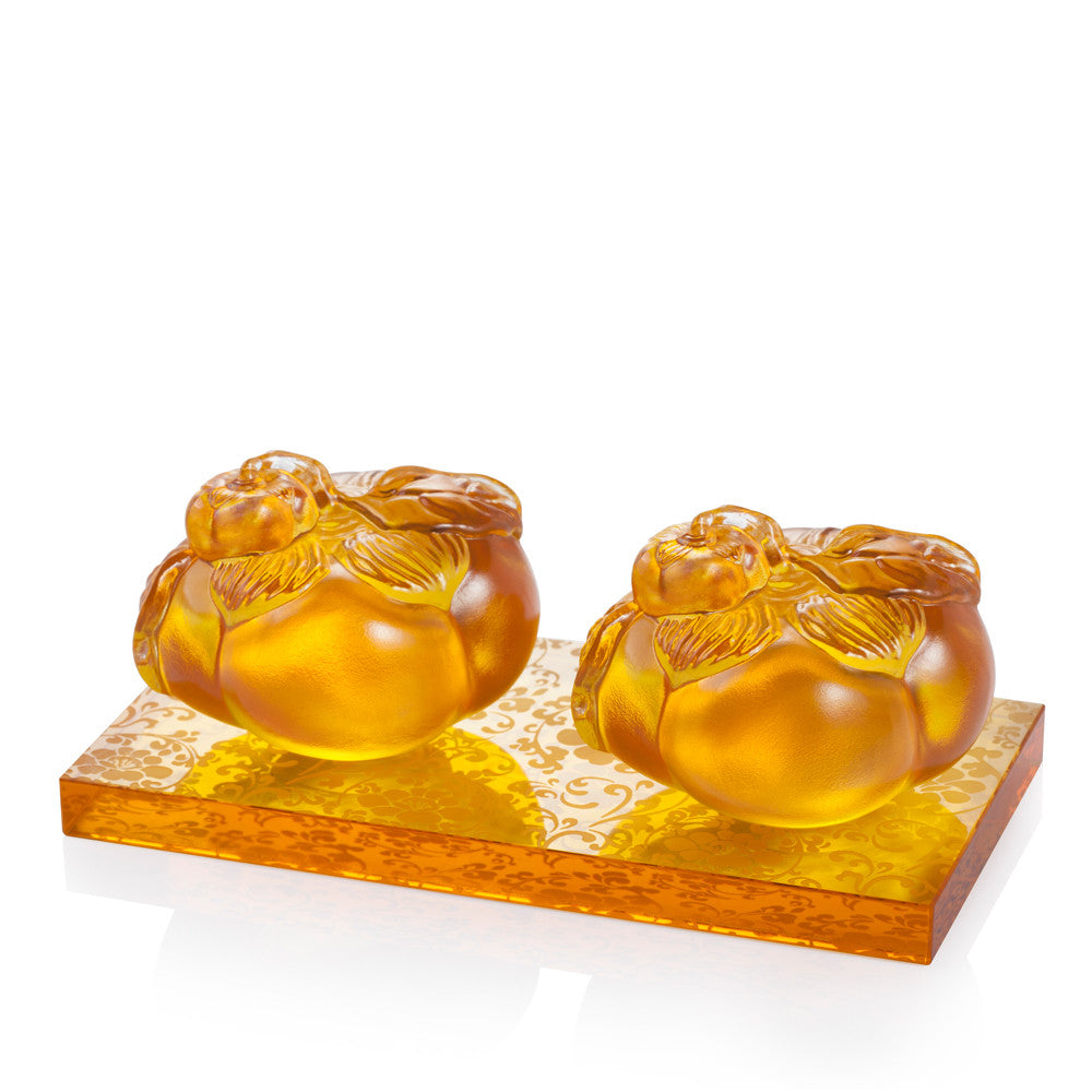 Crystal Paperweight, Feng Shui, Persimmon, Good Things Come in Pairs - LIULI Crystal Art - Amber.