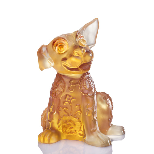 What's That I Hear - Dog Figurine (Leadership) - LIULI Crystal Art | Collectible Glass Art