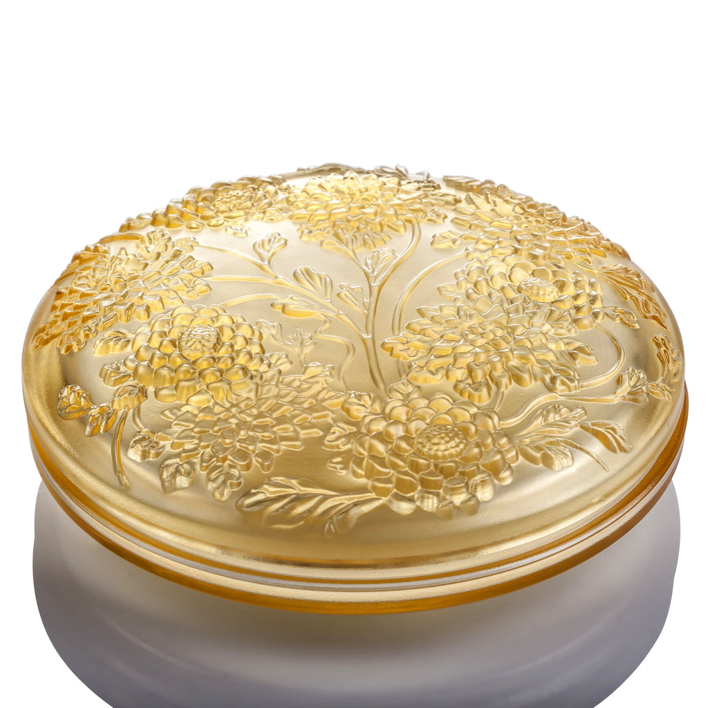 Crystal Jewelry Box, Chrysanthemum, Lunar Treasure Chest (Large) - LIULI Crystal Art