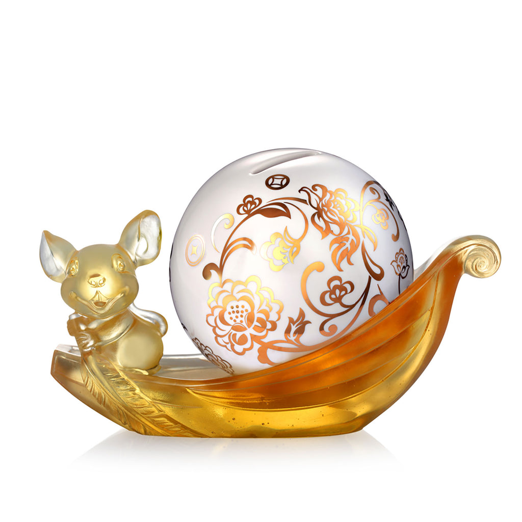 Crystal Animal, Money Bank, Piggy Bank, Year of the Rat, Aboard the Auspicious Ship - LIULI Crystal Art