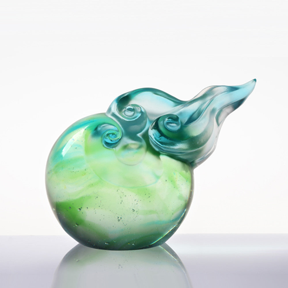 Auspicious Cloud in Motion (Promote Luck) - Cloud Figurine Paperweight - LIULI Crystal Art - Sky Blue / Spring Green Clear.