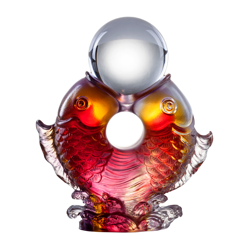 Crystal Fish, Feng Shui, As The Good World Turns-Twin Fish Turning of Ruyi - LIULI Crystal Art