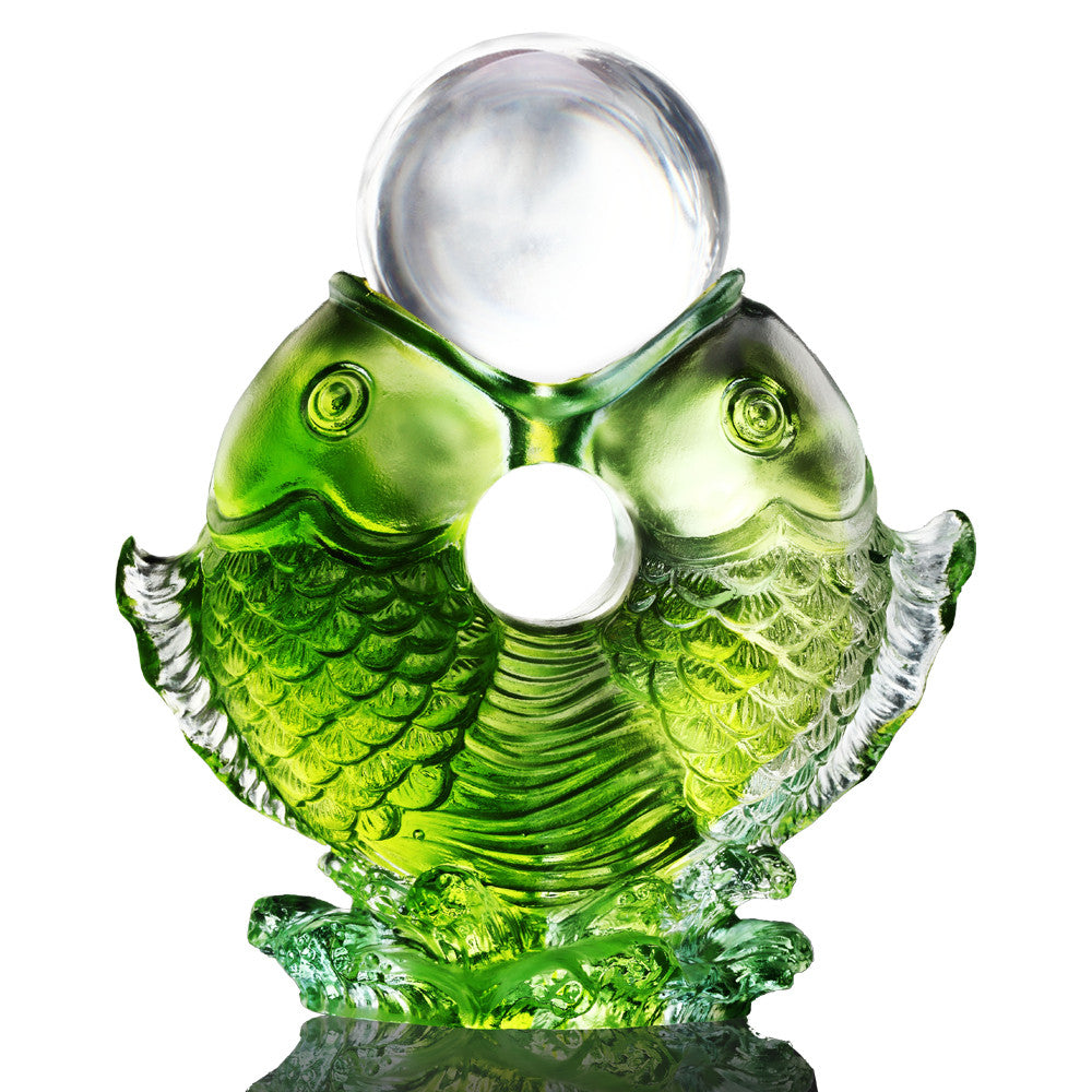 Crystal Fish, Feng Shui, As The Good World Turns-Twin Fish Turning of Ruyi - LIULI Crystal Art - Green (Clear Ball).