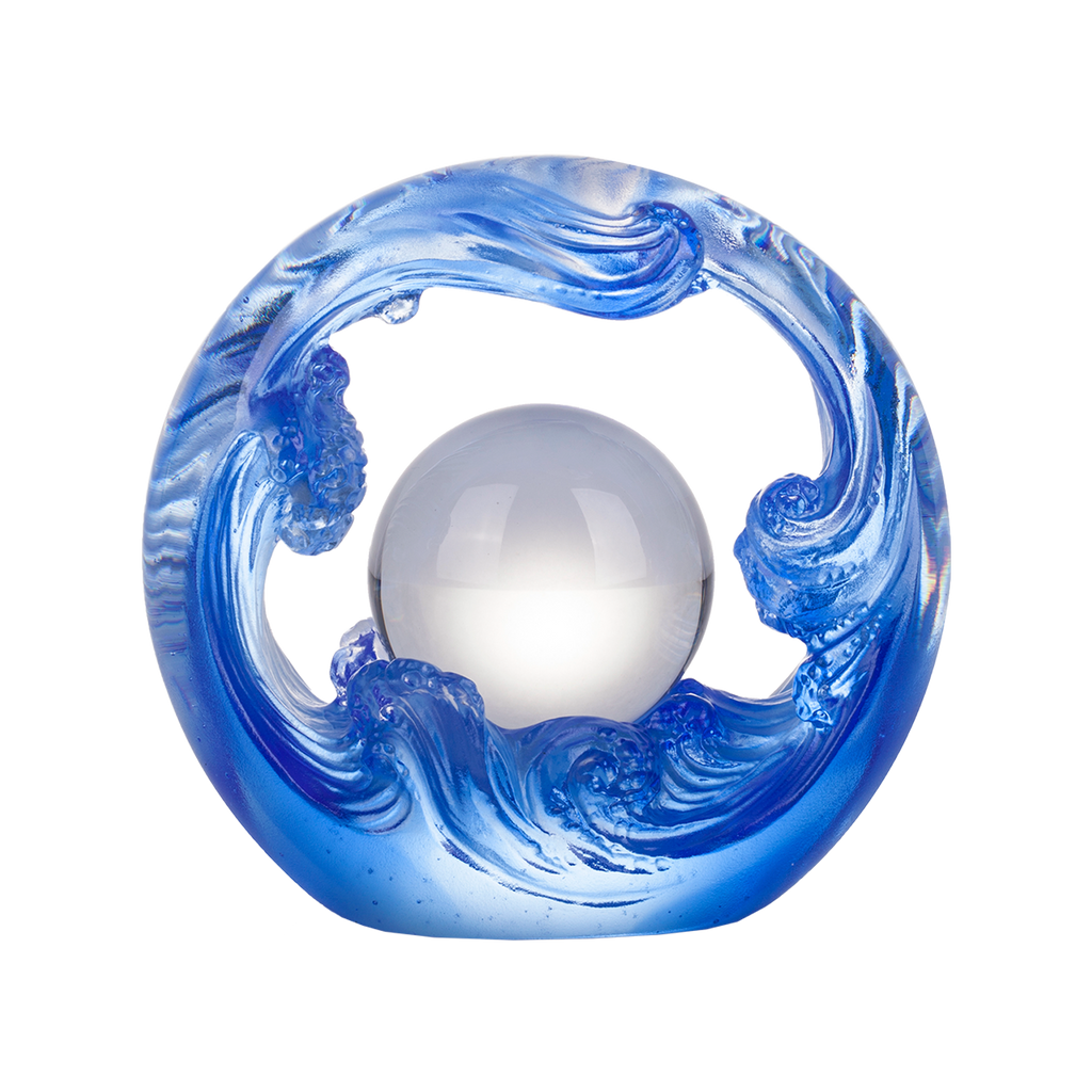 Crystal Feng Shui Art Symbolizing water and the constant flow of riches - LIULI Crystal Art