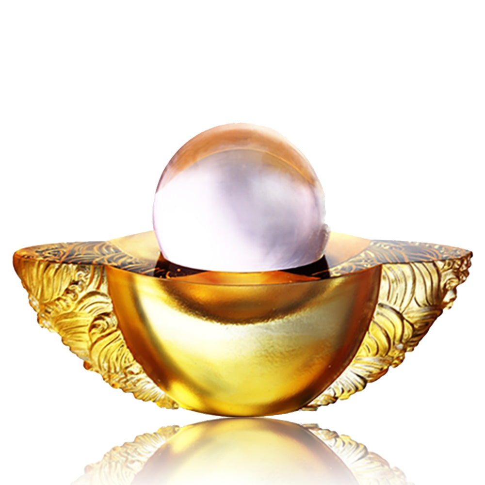 Crystal Paperweight, Feng Shui, As The Good World Turns-Kindness Turns This Good World - LIULI Crystal Art - Light Amber.