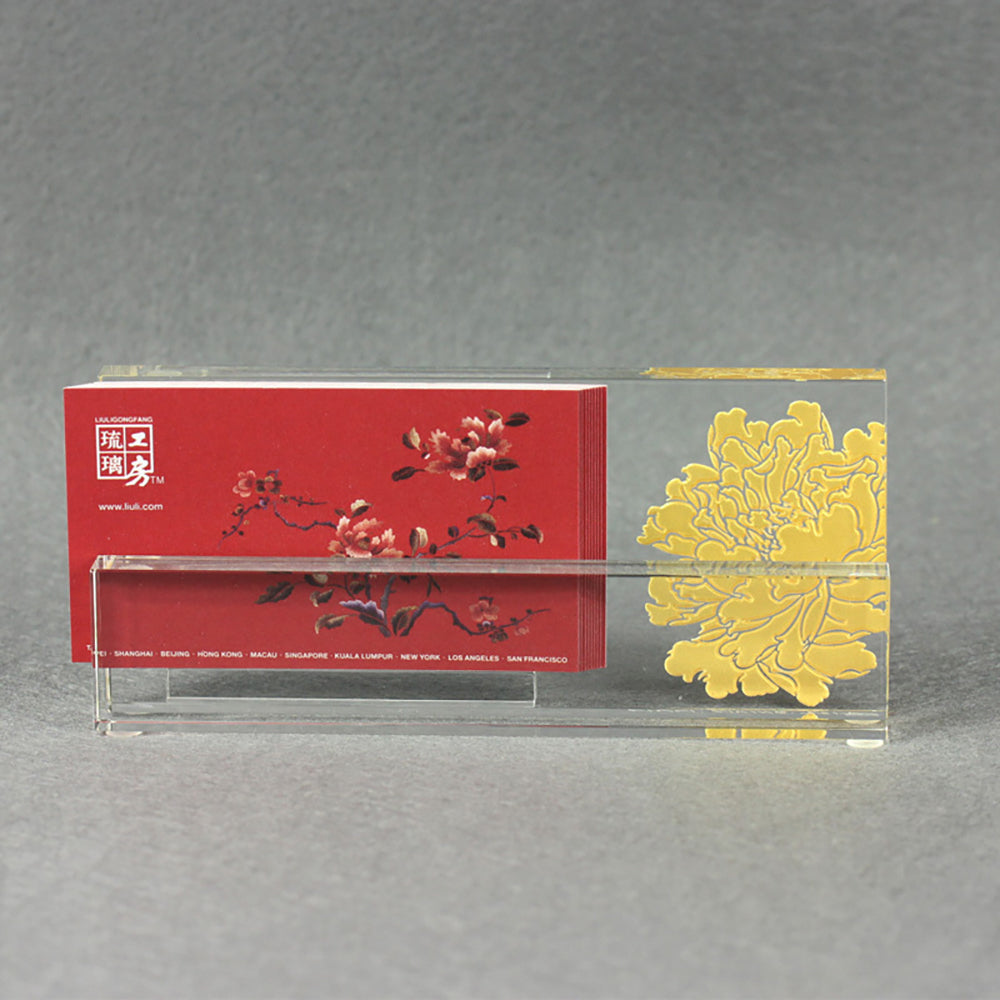 Crystal Business Cardholder, Eternal Golden Flower - LIULI Crystal Art