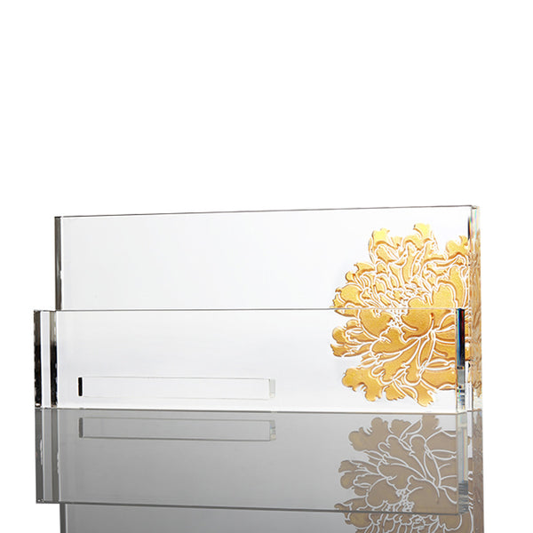 Cardholder (Prosperity), Eternal Golden Flower - LIULI Crystal Art