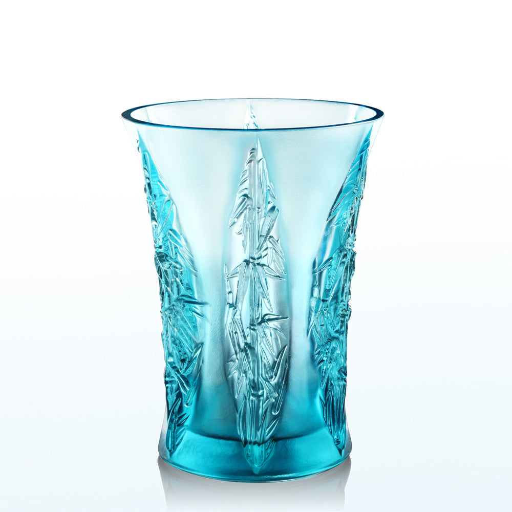 Crystal Floral Vase, In the Presence of Spring-Lovely Bamboo Shadows - LIULI Crystal Art