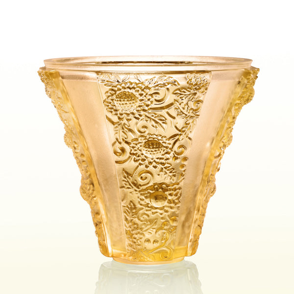 -- DELETED -- Flower Vase, Exquisite Goldenrod - LIULI Crystal Art