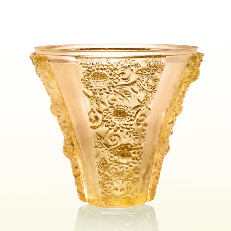 Crystal Floral Vase, In the Presence of Spring-Exquisite Goldenrod - LIULI Crystal Art