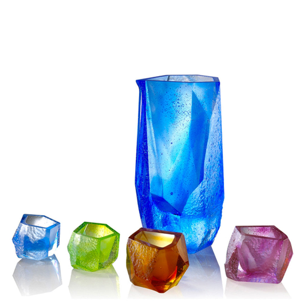 Crystal Sake Glass and Jar, Our Secret, Set of 5 - LIULI Crystal Art - Mixed Colors.