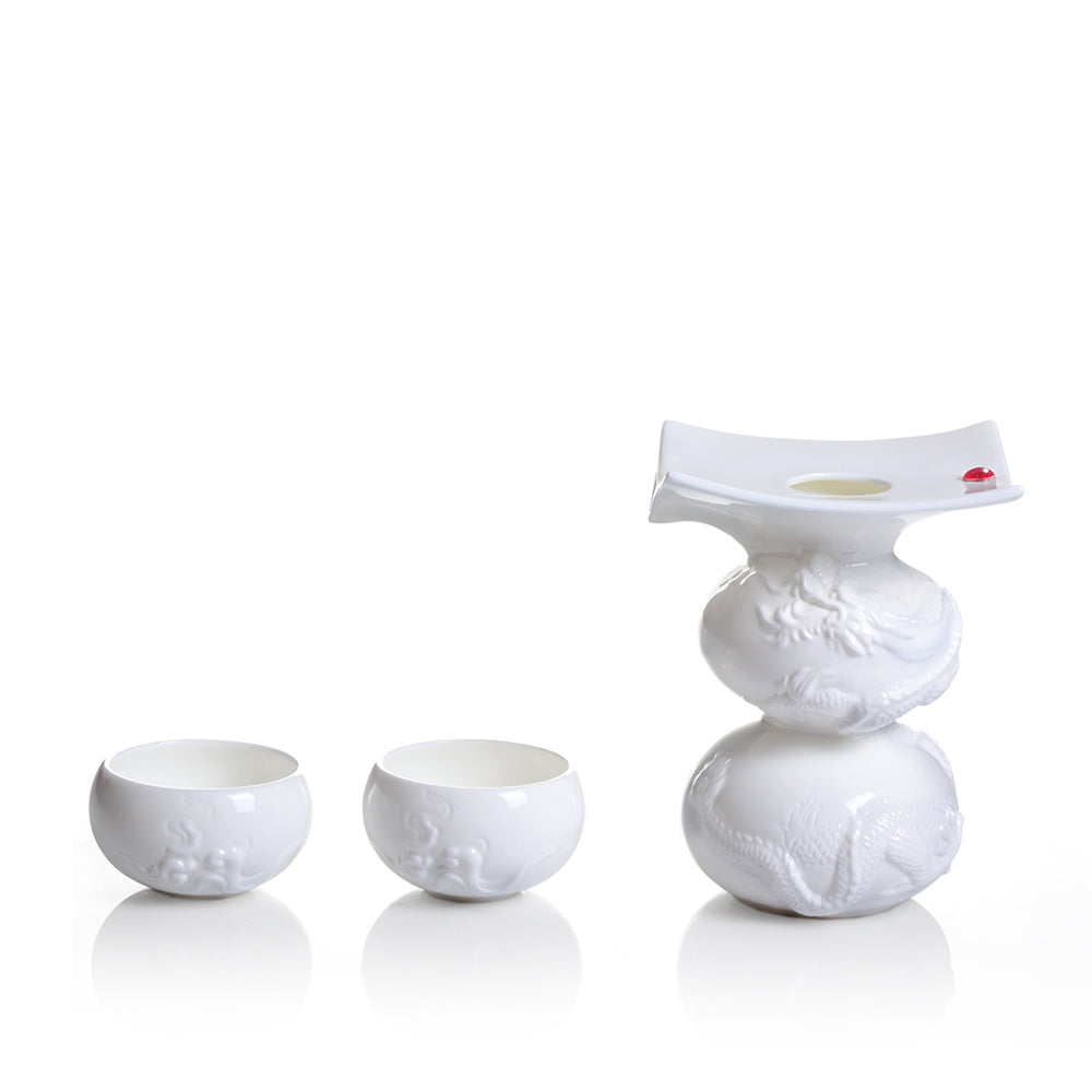 Li Bai's Intoxication (Bone China Sake Set) - 1 Pot, 2 Sake Cups (Set of 3pcs) - LIULI Crystal Art