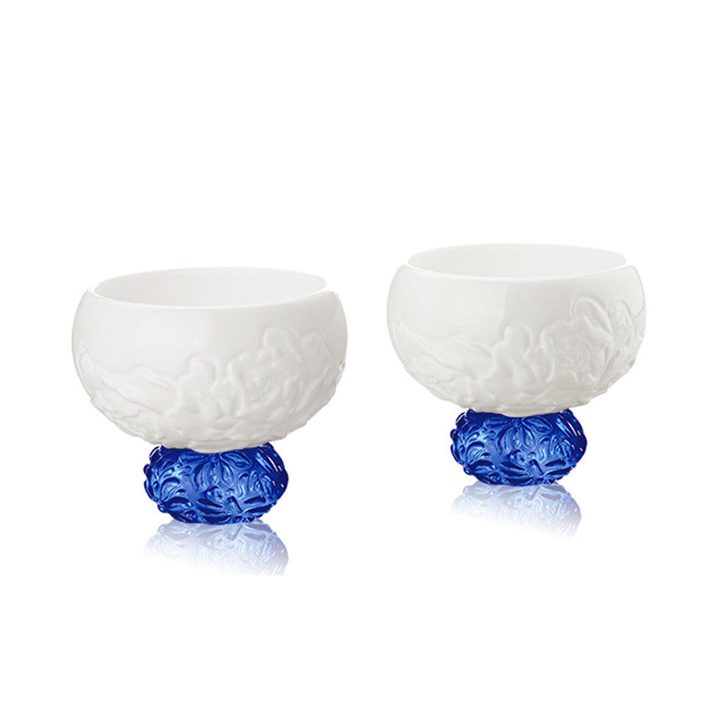 Bone China Sake Cups - Seasonal Treasures-Spring Peony (Set of 2) - LIULI Crystal Art - Saphire Blue.
