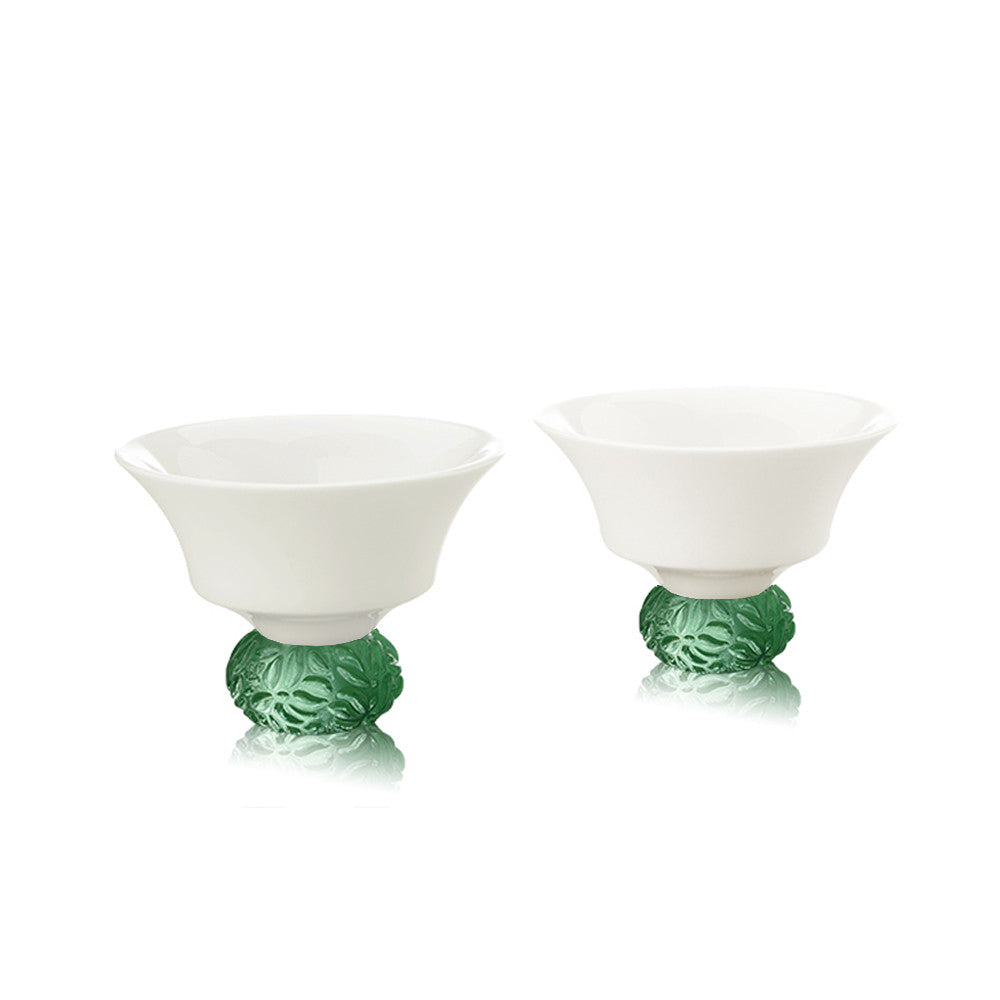 Bone China Sake Cups - Seasonal Treasures-Summer Bamboo (Set of 2) - LIULI Crystal Art - Green.