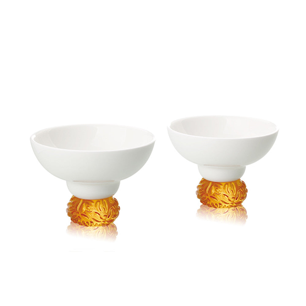 Bone China Sake Cups - Seasonal Treasures-Autumn Chrysanthemum (Set of 2) - LIULI Crystal Art - Amber.
