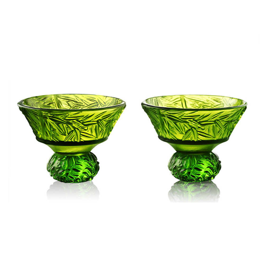Virtuous Bamboo (A Drink to Virtue) - Sake Glass, Shot Glass (Set of 2) - LIULI Crystal Art - Green / Green.