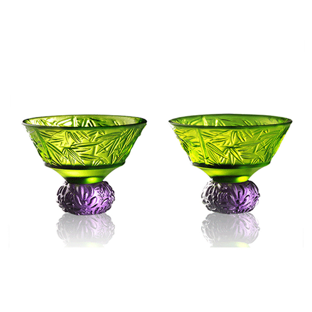 Virtuous Bamboo (A Drink to Virtue) - Sake Glass, Shot Glass (Set of 2) - LIULI Crystal Art - Green / Violet.