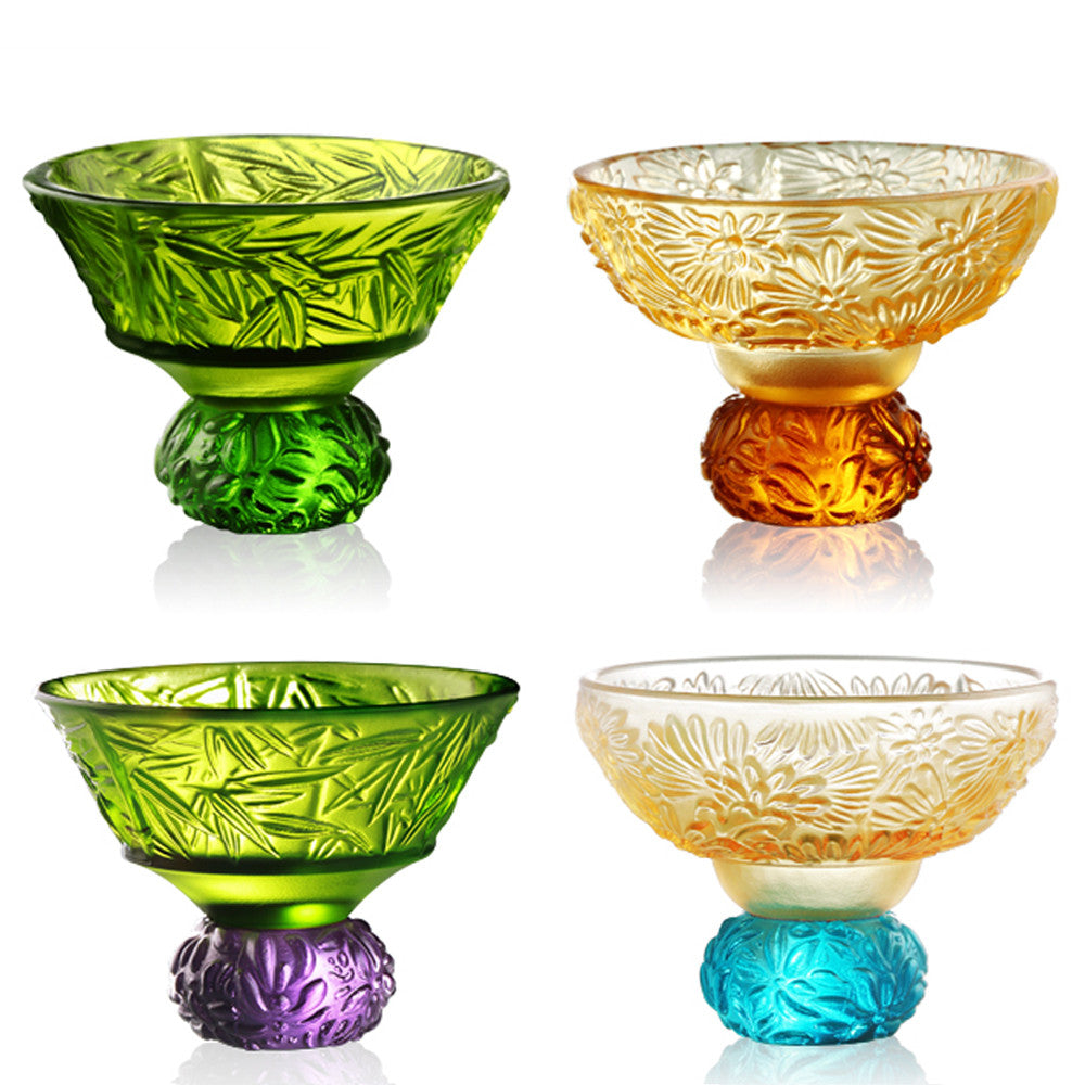 A Drink To Virtue (Set of 4) - Sake Glass, Shot Glass (2 Designs) - LIULI Crystal Art - Mixed Colors.