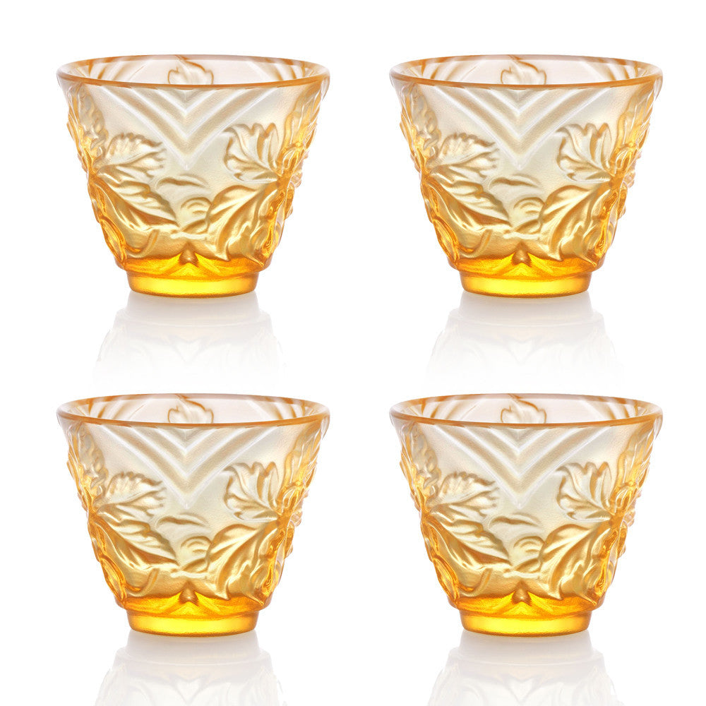 Sake Glass, Shot Glass - To Drink Amongst Flowers (Set of 4pcs), Amber - LIULI Crystal Art - [variant_title].